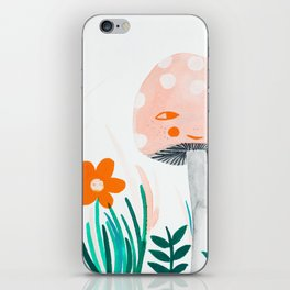 pink mushroom with floral elements iPhone Skin