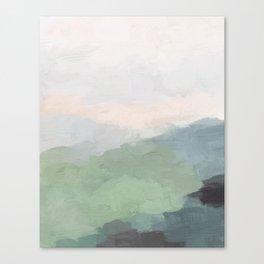 Seafoam Green Mint Black Blush Pink III Abstract Nature Land Art Painting Art Canvas Print