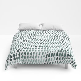Teal and White Dots Pattern Comforters