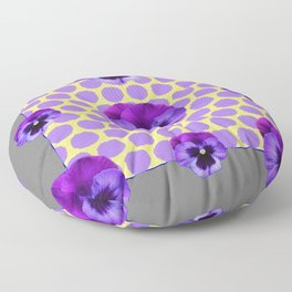 PURPLE SPRING PANSIES  LILAC POLKA DOT  PATTERN Floor Pillow