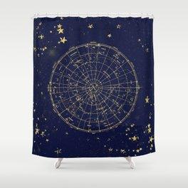 Metallic Gold Vintage Star Map 2 Shower Curtain