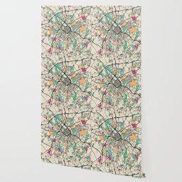 Colorful City Maps: Charlotte, North Carolina Wallpaper