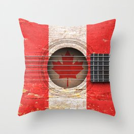 Old Vintage Acoustic Guitar with Canadian Flag Throw Pillow