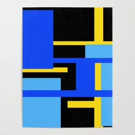 Rectangles - Blues, Yellow and Black Poster