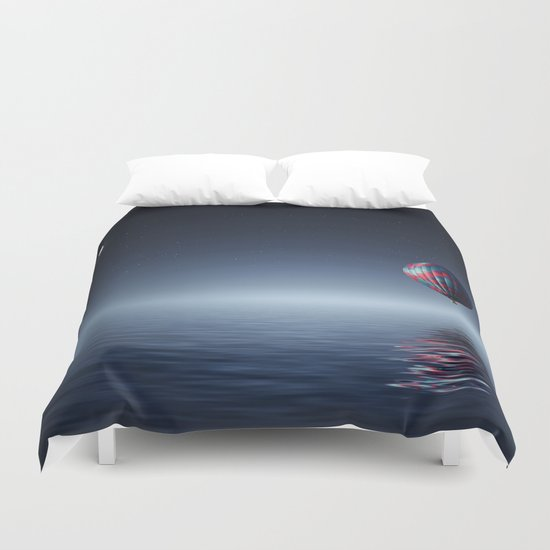 Hot Air Balloon Over Water Duvet Cover