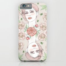 Woman with flowers and beetles iPhone 6s Slim Case