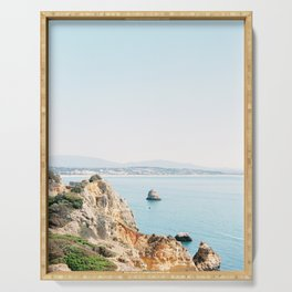 Coast of Lagos, Algarve in Portugal | Bright and airy seascape photography art Serving Tray
