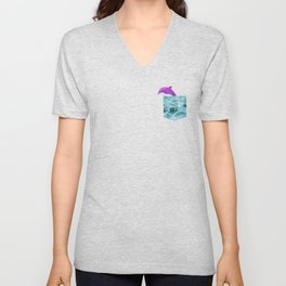 Vaporwave Dolphin Gift Water Pocket shape design Unisex V-Neck