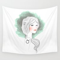 taurus Wall Tapestries featuring Taurus by Victoria Rosas