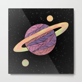 Pink and Purple Ultraviolet Planet Metal Print