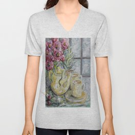 Morning Tea for Two Unisex V-Neck