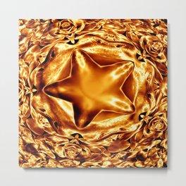 Elegant Shiny Copper Gold Christmas Star Metal Print