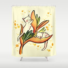 Yellow Heliconia and Cat Twins Shower Curtain