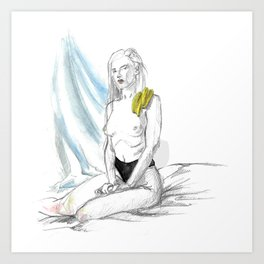 Banana girl Art Print