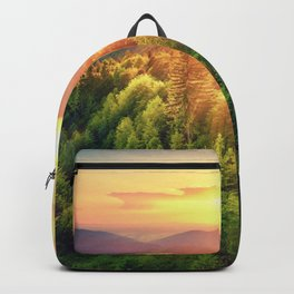 Sunset over forest Backpack