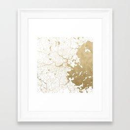 Boston White and Gold Map Framed Art Print