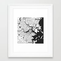 boston map Framed Art Prints featuring Boston Map Gray by City Art Posters