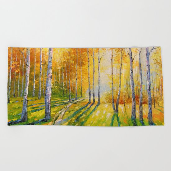 Road in a birch forest Beach Towel