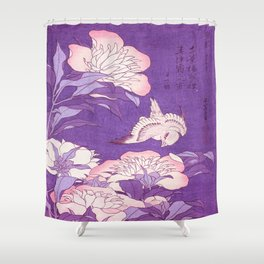 Japanese FLowers Purple Pink Shower Curtain