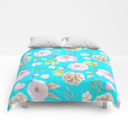 Artist hand painted pink lavender teal watercolor floral Comforters