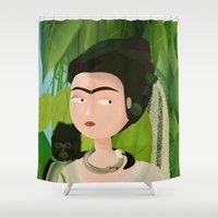 frida Shower Curtains featuring Frida by Mister Linus