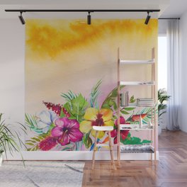Tropical Summer Flowers 3 Wall Mural