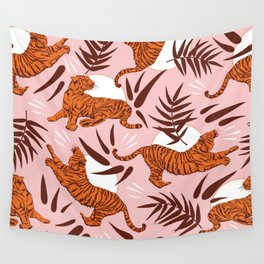 Vibrant Wilderness / Tigers on Pink Wall Tapestry