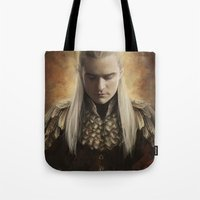 smaug Tote Bags featuring Legolas Desolation of Smaug by Alba Palacio