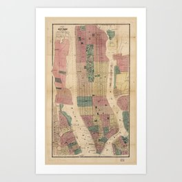 Map of New York and Vicinity (1867) Art Print