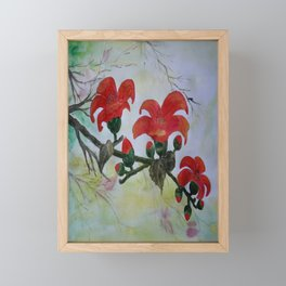 Krishnochura flowers Framed Mini Art Print