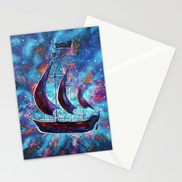 Original art for Sale Travel in space on an old sailing ship. Pirates, Peter. A ship Pan art Stationery Cards