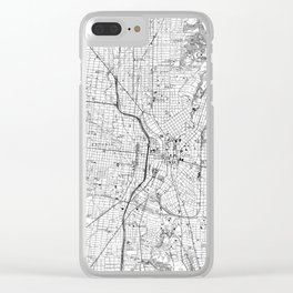 Vintage Map of San Antonio Texas (1953) BW Clear iPhone Case