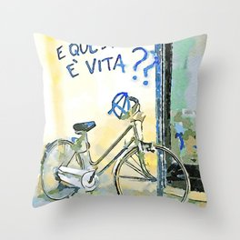 Faenza: bicycle with writing on the wall Throw Pillow