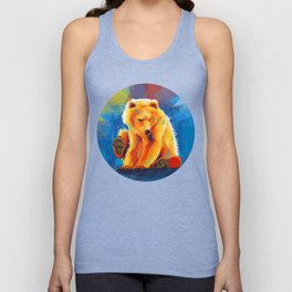 Play with a Bear - Animal digital painting, colorful illustration Unisex Tank Top