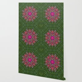fantasy floral wreath in the green summer  leaves Wallpaper
