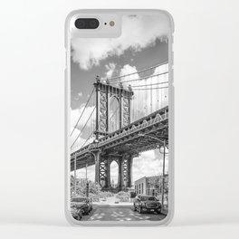 NEW YORK CITY Manhattan Bridge | Monochrome Clear iPhone Case