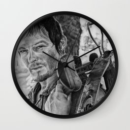 Dayrl Dixon (Walking Dead) Portrait. Wall Clock