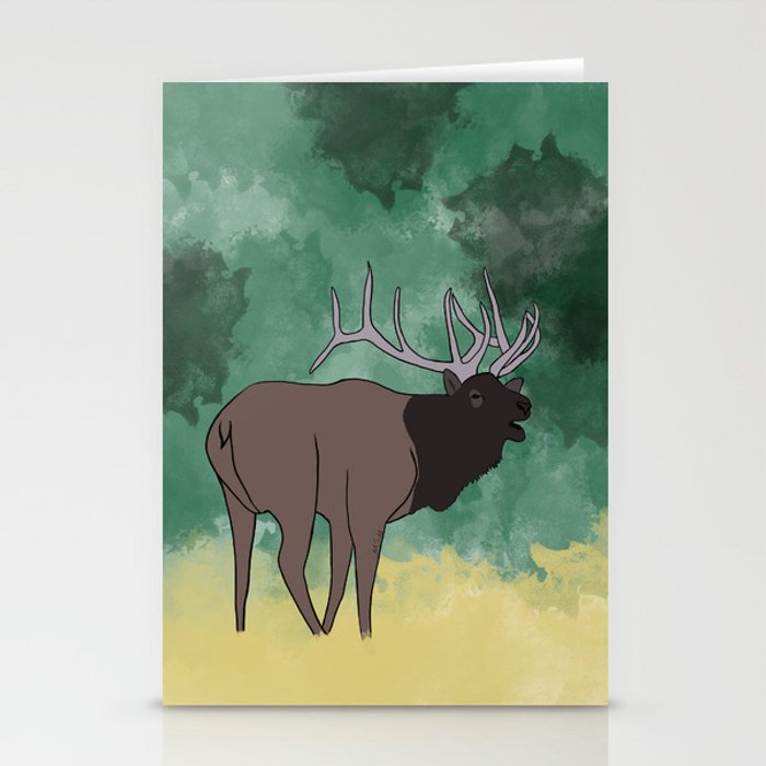 Bull Elk Bugling Stationery Cards
