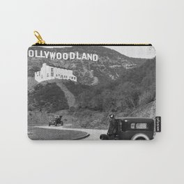 Old Hollywood sign Hollywoodland black and white photograph Carry-All Pouch