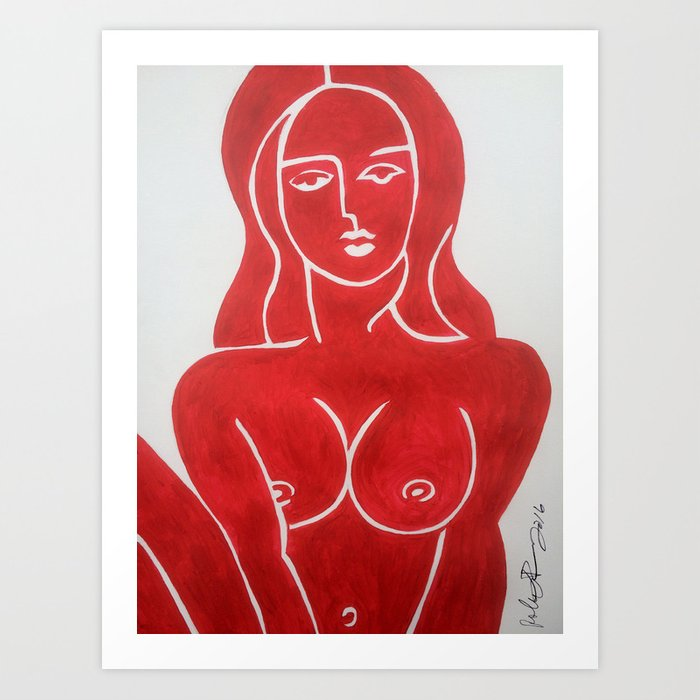 The Lady in Red Erotic Female Nude Woman Art Original Print Art Print