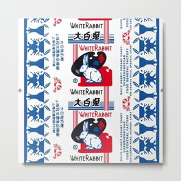 White Rabbit Creamy Candy Metal Print
