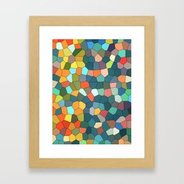 Stained Glass Multi-Color Cool Mint Framed Art Print