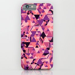 Colourful triangular mosaic in the nuance of pink iPhone Case