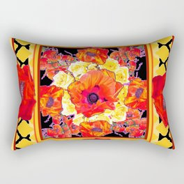RED POPPIES DECORATIVE FLORAL ABSTRACT Rectangular Pillow