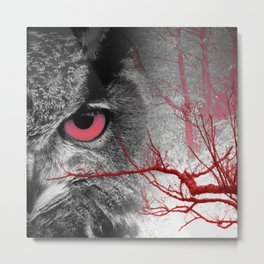 Pink-Eyed Owl & the Fanciful Forest Metal Print