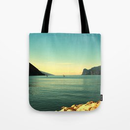windsurfers in Italy Tote Bag