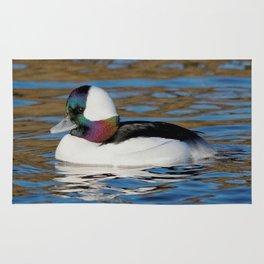 Bufflehead Duck on the Winter Pond Rug