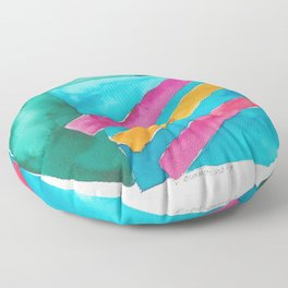 180819 Geometrical Watercolour 3  | Colorful Abstract | Modern Watercolor Art Floor Pillow