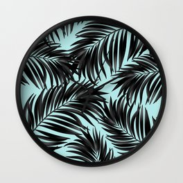 Palm Tree Fronds Black on Cyan Hawaii Tropical Wall Clock