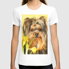Spring Yellow Crocuses With Yorkie Puppy #decor #society6 T-shirt